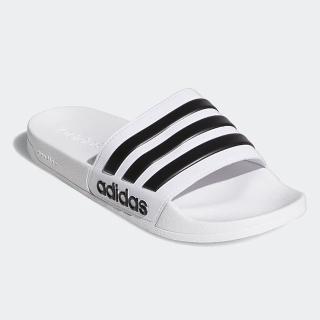 【adidas 愛迪達】男女鞋 休閒 運動拖鞋 ADILETTE SHOWER 白 AQ1702
