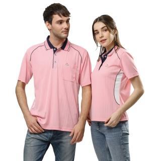【per GIBO】直條緹花吸溼排汗女版短POLO衫-粉紅色(PK142581)