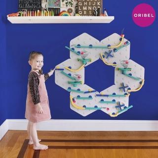 【Oribel】滾球軌道牆面壁貼-藍綠進階(STEAM玩具)