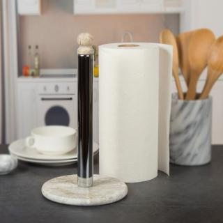 Creative Home 天然貝殼化石配不鏽鋼電鍍色直立式捲筒擦拭紙架衛生紙架 餐廳 廚房 紙巾架