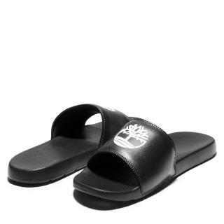 【Timberland】中性黑色品牌標誌休閒拖鞋(A24VP015)