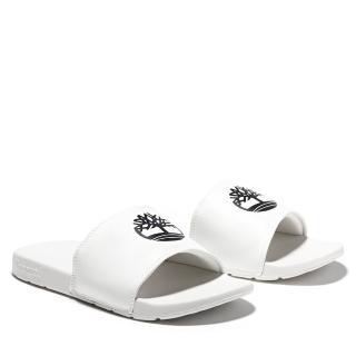 【Timberland】中性白色品牌標誌休閒拖鞋(A24WN100)