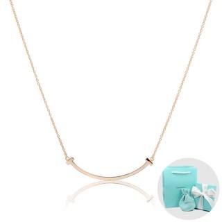 【Tiffany&Co. 蒂芙尼】T系列 微笑Smile 經典玫瑰金色項鍊