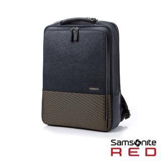 【Samsonite RED】DAWONE 商務皮革筆電後背包15.6吋(海軍藍)