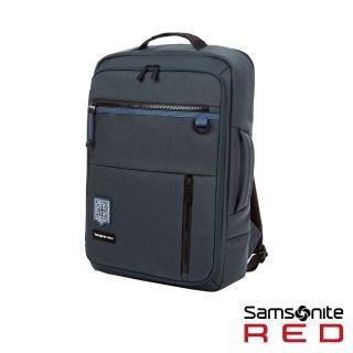 【Samsonite RED】塗鴉水平開闔筆電後背包14吋(藍綠)