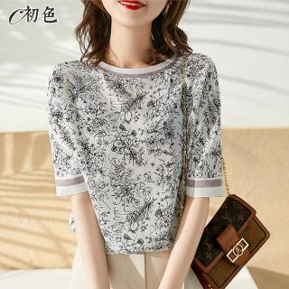 【初色】花卉插畫印花T恤-白色-96258(M-2XL可選)