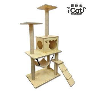 【iCat 寵喵樂】原木紋多層大型貓跳台