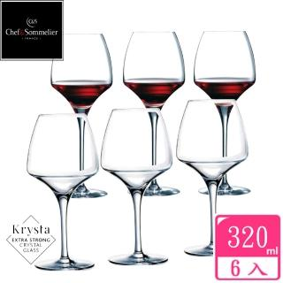 【chef & sommelier】OPEN UP玻璃水晶紅酒杯320cc(六入組)