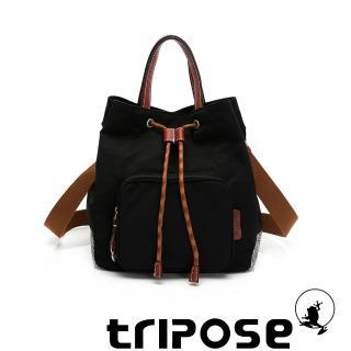 【tripose】漫遊系列岩紋手提斜背水桶包(潮感黑)