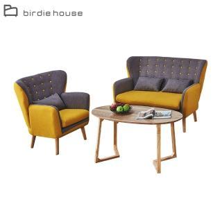【柏蒂家居】夏奇拉歐風質感雙色沙發茶几組合(1+2人座+4尺茶几)