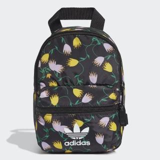 【adidas 愛迪達】MINI BP GR Q2 滿版花 黑色 迷你小後背包(FL9682)