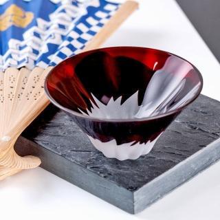 【田島硝子】日本職人手工製作富士山祝盃 清酒杯-朱紅色(TG13-013-1R)