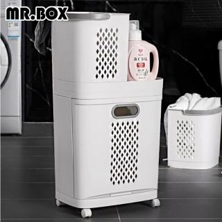 【Mr.Box】日式附輪分離式髒衣籃(附無痕掛勾x2)