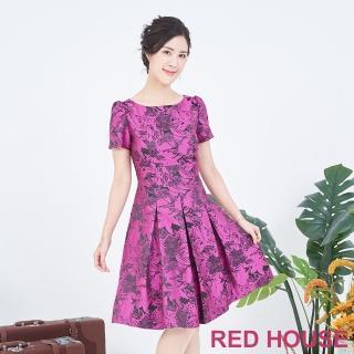 【RED HOUSE 蕾赫斯】緹花刺繡洋裝(桃紅色)