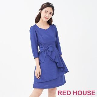 【RED HOUSE 蕾赫斯】波浪蝴蝶結洋裝(藍色)
