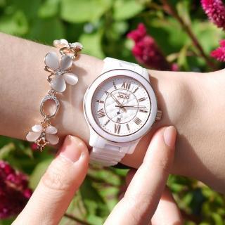 【NATURALLY JOJO】氣質典雅 菱格時尚 藍寶石水晶玻璃 日期顯示 陶瓷手錶 白色 36mm(JO96947-80R)