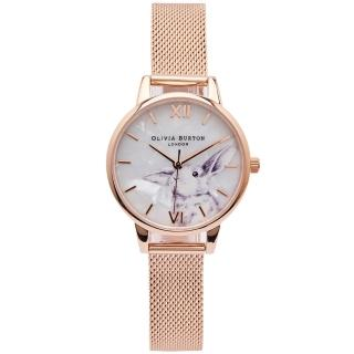 【Olivia Burton】純真大耳兔子風格的米蘭帶錶帶手錶-珍珠貝面/30mm(OB16WL85)