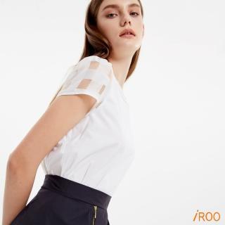 【iROO】格紋剪接短袖上衣