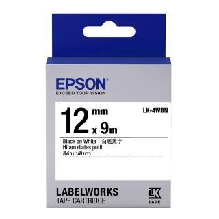 【EPSON】標籤帶 白底黑字/12mm(LK-4WBN)