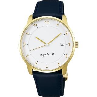 【agnes b.】法國時尚簡約手錶-白x金框x藍/38mm(VJ42-KZ30B BS9005J1)