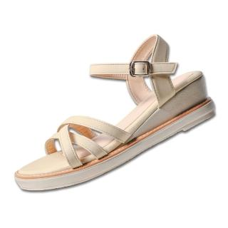 【Paperplanes】正韓製/版型偏小。好感實搭立體線條微楔型涼鞋(7-0268/二色-現貨+預購)