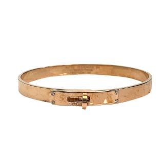 【Hermes 愛馬仕】經典Bracelet Kelly鑽石鑲飾轉釦手環(小-玫瑰金H214456B-ROSE)