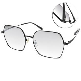 【SEROVA】新潮多邊方框款太陽眼鏡(霧黑-淺白水銀漸層灰綠鏡片#SS9059 C16)