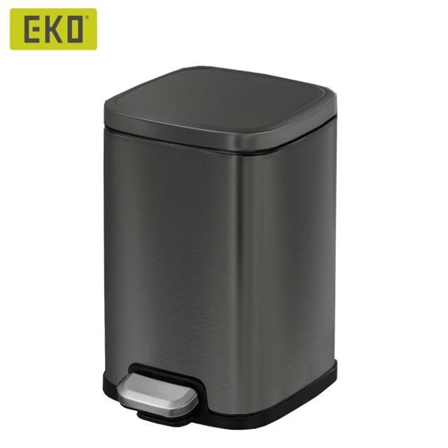 【EKO】黛拉靜音垃圾桶-12L(亞光黑/居家/客廳/浴室/時尚簡約)/