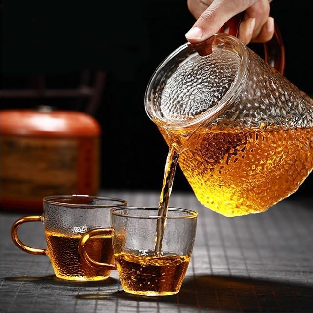 【古緣居】手工口吹錘紋玻璃沖茶壺贈錘紋杯兩個(方菱款)/