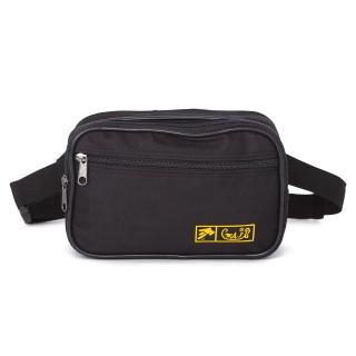 【ABS 愛貝斯】台灣製造 輕量防潑水多隔層腰包 中型 兩用式腰包 側背包 黑色 709