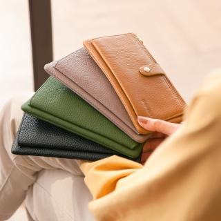 【CHENSON】真皮13卡超薄2.0典雅長夾皮夾手機包 豆沙紫(W28110-U)