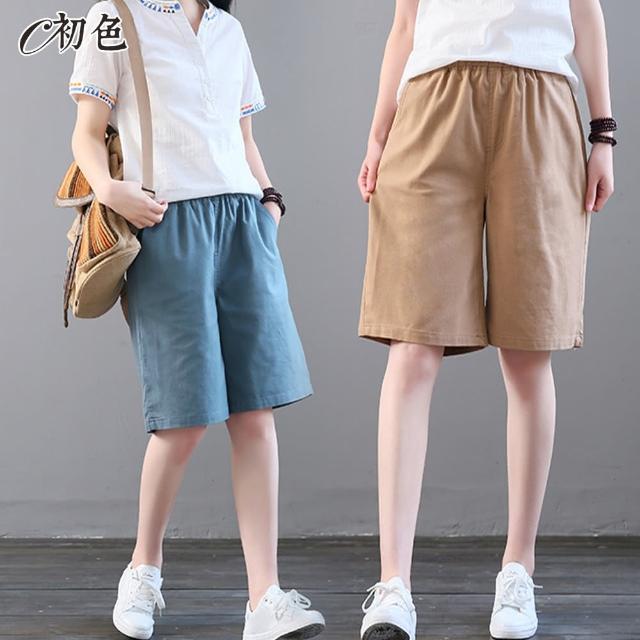 【初色】夏季涼感五分休閒短褲-共4色-96448(M-2XL可選/現貨+預購)/