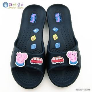 【童鞋城堡】喬治豬 小汽車室內拖鞋 粉紅豬小妹(PG0037-藍)