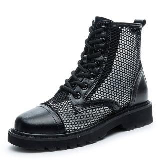 【Taroko】夏季涼爽全真牛皮鏤空網布馬丁靴(2色可選)