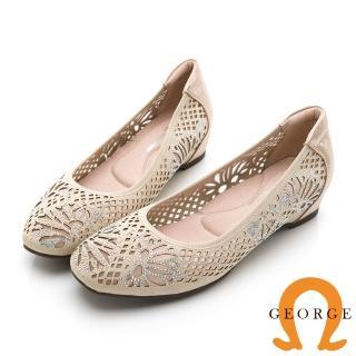 【GEORGE 喬治皮鞋】彩鑽花朵舒適小方頭平底鞋 金色