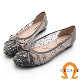 【GEORGE 喬治皮鞋】輕柔微透膚蝴蝶結圓頭娃娃鞋-可可色