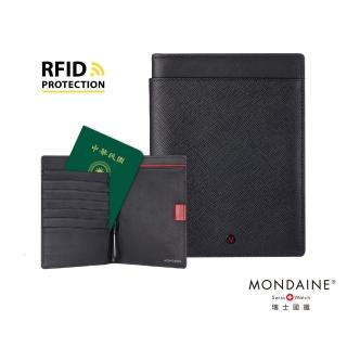 【MONDAINE 瑞士國鐵】蘇黎世系列RFID防盜6卡雙本護照夾(十字紋)