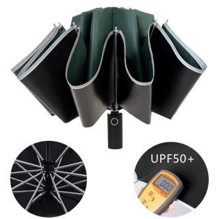 【幸福揚邑】抗UV降溫10骨防強風防潑水反光條大傘面全自動UPF50+反向晴雨折疊傘(墨綠)
