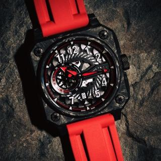 【ROMAGO】碳霸系列 超級碳纖自動機械腕錶 - 黑紅色/46.5mm(RM097-BKRD)