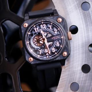 【ROMAGO】碳霸系列 超級碳纖自動機械腕錶 - 黑色/46.5mm(RM097-BKRG)