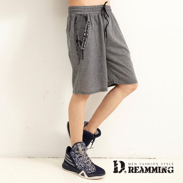 【Dreamming】迷彩拼接鬆緊抽繩運動休閒短褲