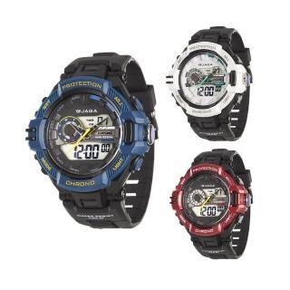 【JAGA 捷卡】AD1134 曠野戰將雙顯多功能運動電子錶