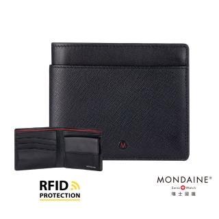【MONDAINE 瑞士國鐵】蘇黎世系列 RFID防盜8卡零錢包短夾(十字紋)