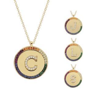 【apm MONACO】法國精品珠寶 閃耀彩虹晶鑽金色字母圓牌可調整長項鍊(多款可選)