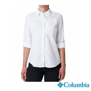 【Columbia 哥倫比亞】女款-UPF50快排 長袖襯衫-白色(UAK26570WT / 抗UV.快排.襯衫)