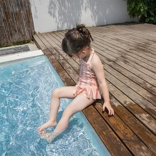 【AS 梨卡】兒童 泳衣 泳裝 女童 女寶寶 比基尼 游泳衣附泳帽CH650