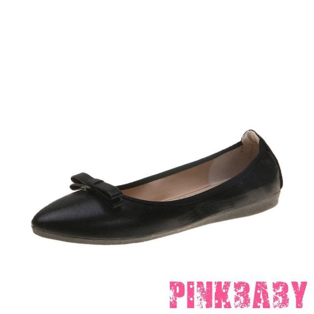 【PINKBABY】金屬亮皮立體蝴蝶結造型尖頭低跟摺疊便鞋(黑)/