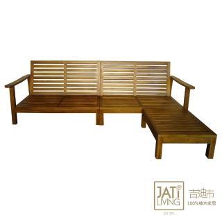 【吉迪市柚木家具】柚木L型沙發椅(客廳組 三人位 簡約 鄉村 木沙發 KLI-05L)
