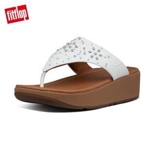 【FitFlop】MYLA FLORAL STUD TOE-THONGS 經典舒適夾涼鞋-女(都會白)