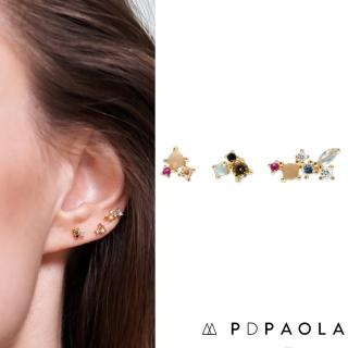 【PD PAOLA】西班牙時尚潮牌 繽紛調色盤彩鑽耳環三件組 925純銀鑲18K金 LA PALETTE(925純銀鑲18K金)